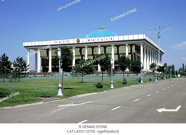 The parliament building of Oliy Majlis is in the centre of the capital of Tashkent