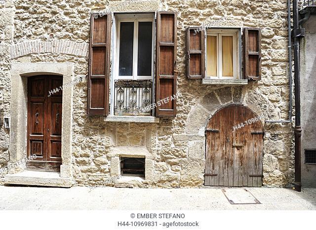 architecture, building, built, city, cobblestone, culture, district, door, Europe, European, exterior, facade, front, house, housing, Italian, Italy, San Marino