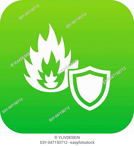 Fire protection icon green vector isolated on white background