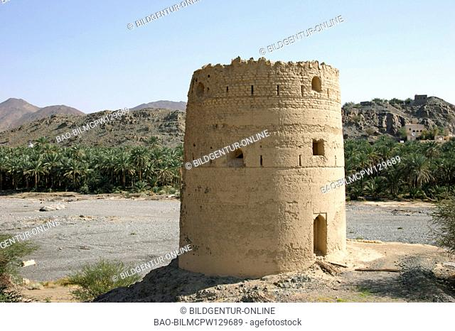 Oman military tower in Fanja, watch-tower of Oman Hajar Al Gharbi