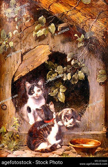 Adam II Julius - Playful Kittens - German School - 19th Century
