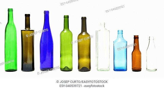 group of bottle isolated on white