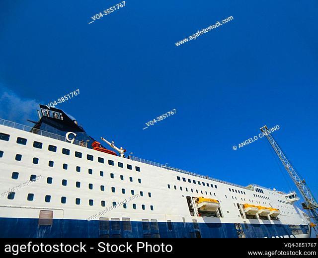 cruise ship departing from Porto Torres, Sassari Province, Sardinia, Italy, Europe