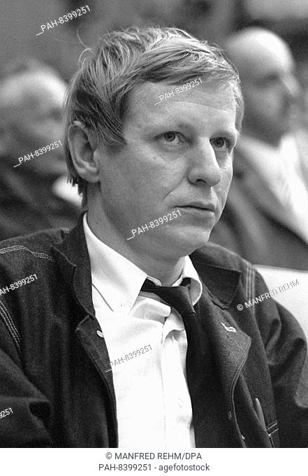 Author Hans Magnus Enzensberger on 28 May 1968 at an event against the German Emergency Acts in the Great Broadcasting Hall of Hessischer Rundfunk in Frankfurt...