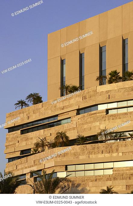 Cladding detail late afternoon light. National Bank of Oman HQ, Muscat, Oman. Architect: LOM Architecture and Design, 2017