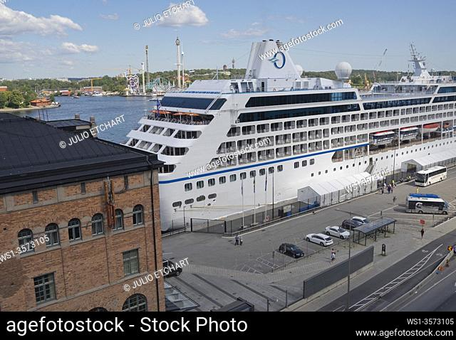 Cruise liner in the harbour of Stockholm, Sweden.