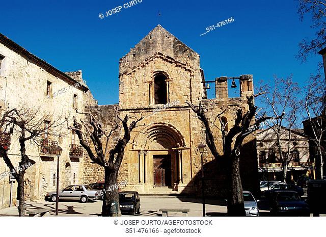 St. Mary's church (12th century), Lladó. Alt Empordà, Girona province, Catalonia, Spain
