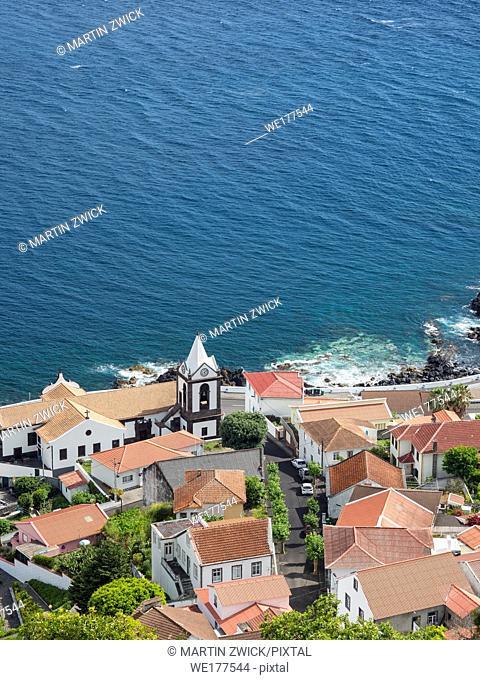 Village Calheta. Sao Jorge Island, an island in the Azores (Ilhas dos Acores) in the Atlantic ocean. The Azores are an autonomous region of Portugal