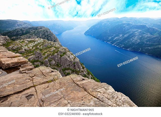 Beautiful view of Lysefjord view from Preikestolen cliff in Norway