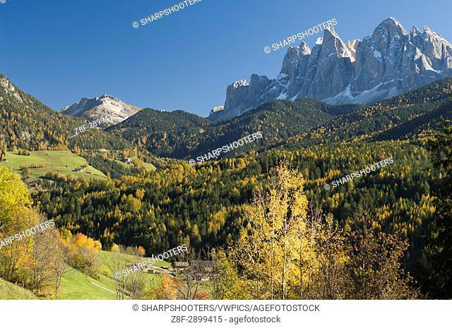 Italy, Trentino - Alto Adige, Bolzano province, Dolomites, Val di Funes, Odle group