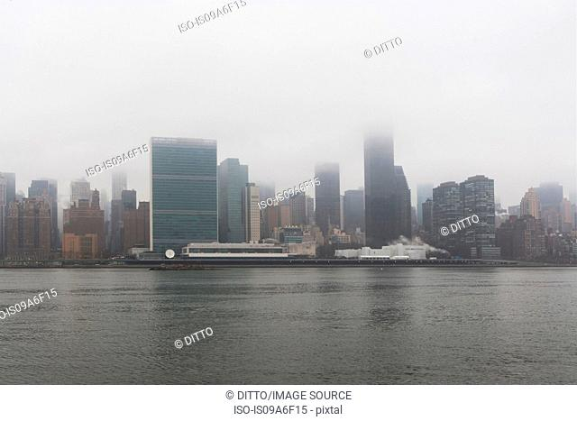 Skyline and East River, New York City, USA