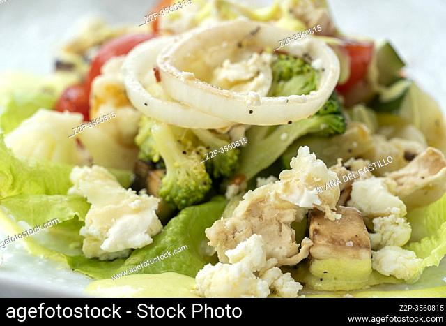 Cabbage salad with avocado puree Spain