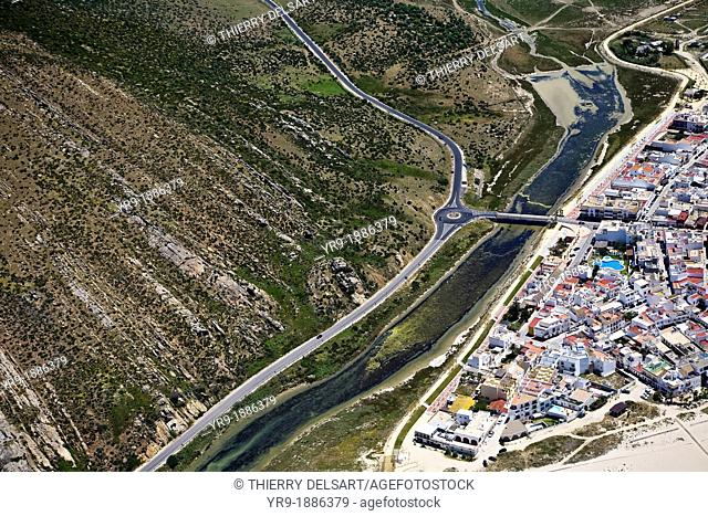 Zahara de los Atunes. entrance roundabout and river Cádiz area. Spain Aerial view. Cádiz area. Spain Aerial view