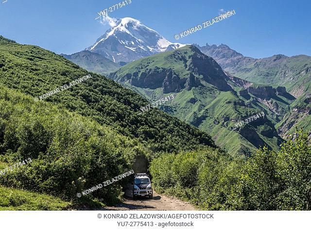 5047 m Mount Kazbek (Kazbegis Mkinvartsveri) in Khokh Range in Caucasus Mountains, Georgia