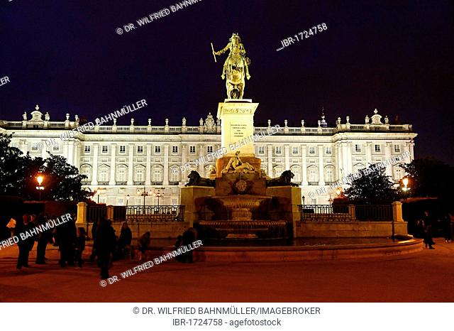 Philip IV, 1605-1665, King of Spain, equestrian statue on La Plaza de Oriente square, in front of the Royal Palace, Madrid, Spain, Europe