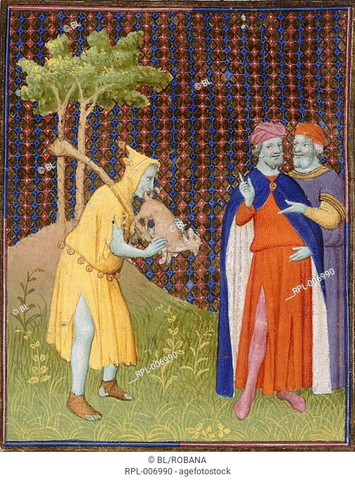 Fool with small animal Miniature A fool putting a small animal to his mouth as two men watch. Image taken from Bible Historiale