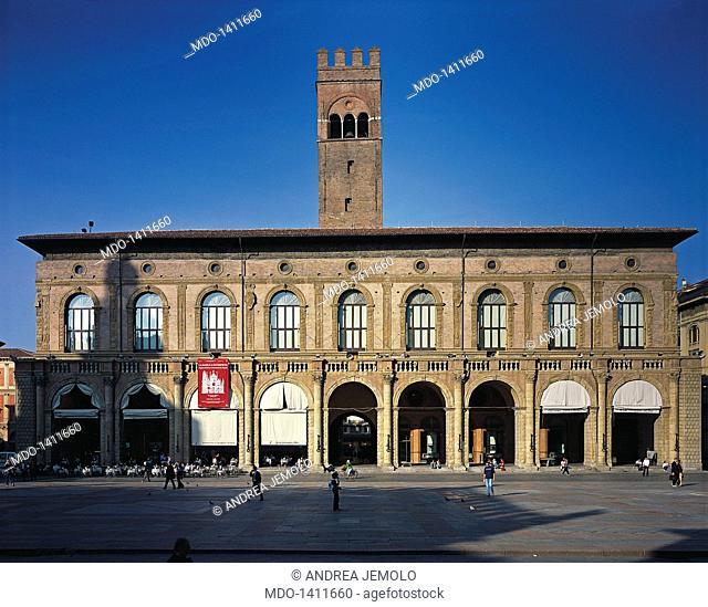 Palazzo del Podestà, by Barozzi Jacopo known as Vignola, 1515 - 1538, 16th Century, visible Roman brick work. Italy, Emilia-Romagna, Bologna