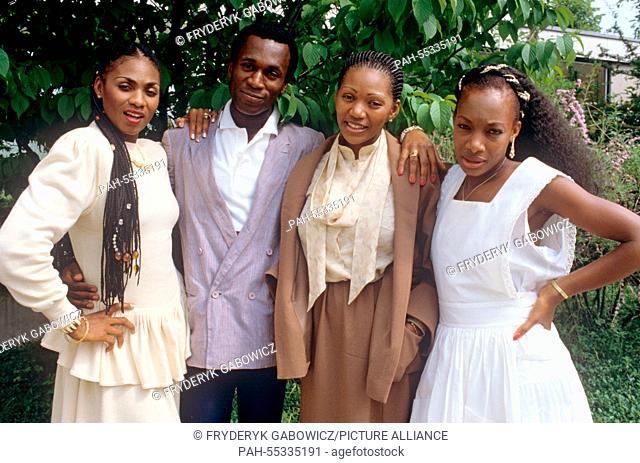 Boney M (l-r. Marcia Barrett, Bobby Farrell, Liz Mitchell, Maizie Williams) on 28.06.1982 .   usage worldwide. - /Germany