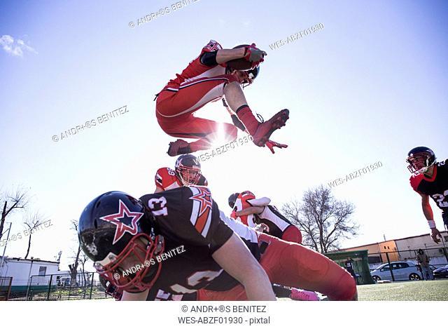 Two teams playing American football