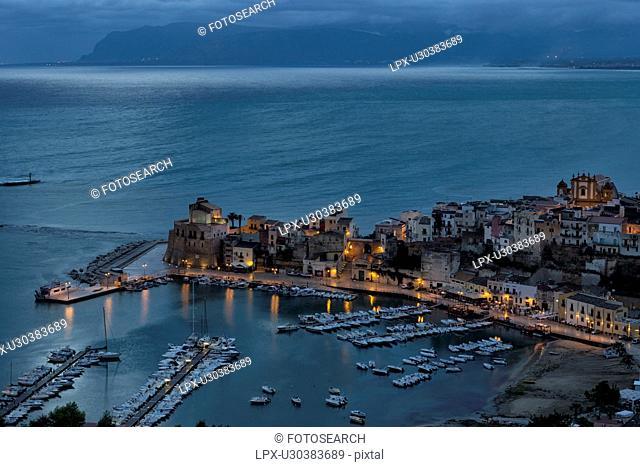 Castellammare al Golfo at dawn, aerial view, Sicily, Italy
