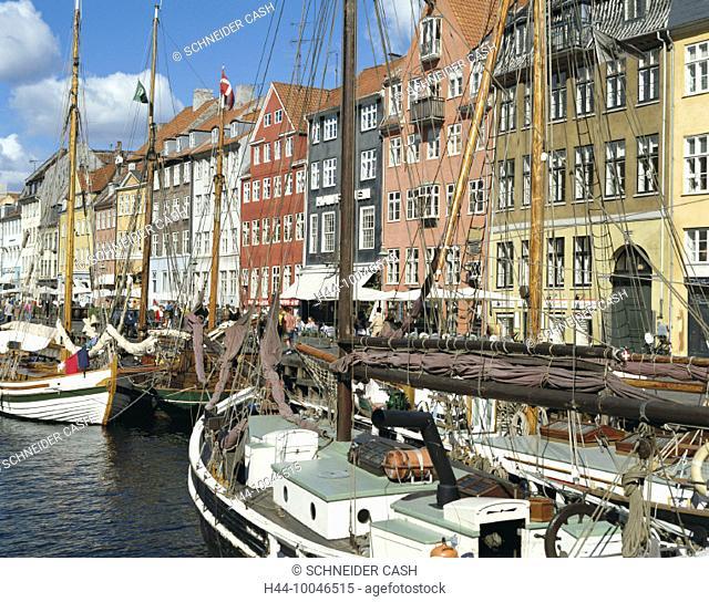 10046515, old ships, bright, colours, colorful, facades, Denmark, Europe, Copenhagen, Nyhavn