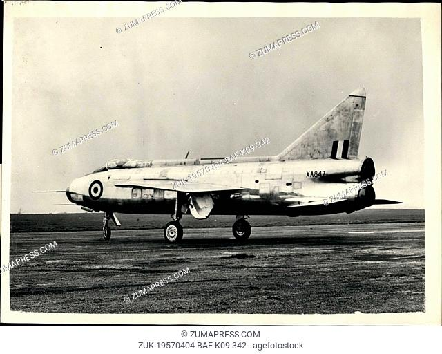 Apr. 04, 1957 - English Electric P.1B. has Maiden Flight. The first English Electric P.1B fully supersonic twin jet fighter made its maiden flight today at...