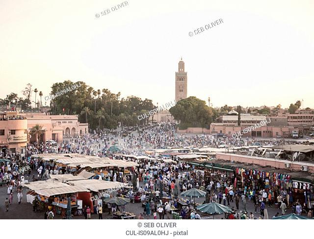 Market stalls at sunset, Jamaa el Fna Square, Marrakech, Morocco