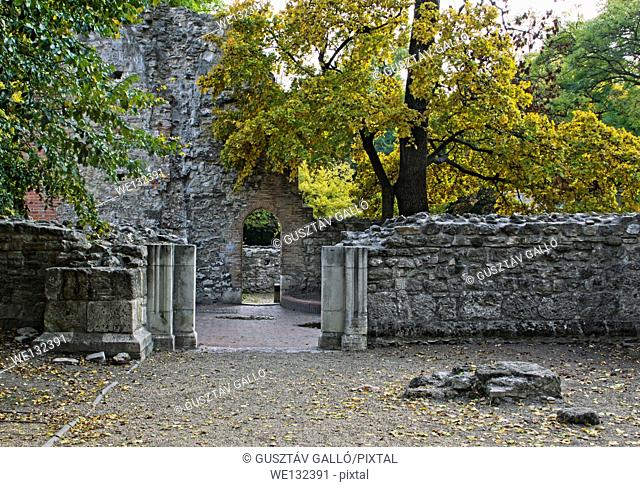 Medieval church ruins arched garden gate and trees