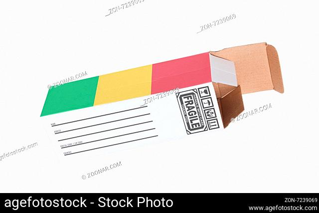 Concept of export, opened paper box - Product of Mali