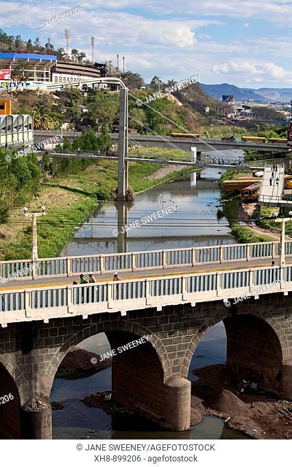 Honduras, Tegucigalpa,Bridge over Rio Choluteca, Mercada La Isla, La Isla Market, National stadium, Estadio Nacional, Tiburchio Carias Andino, and Parque La Paz