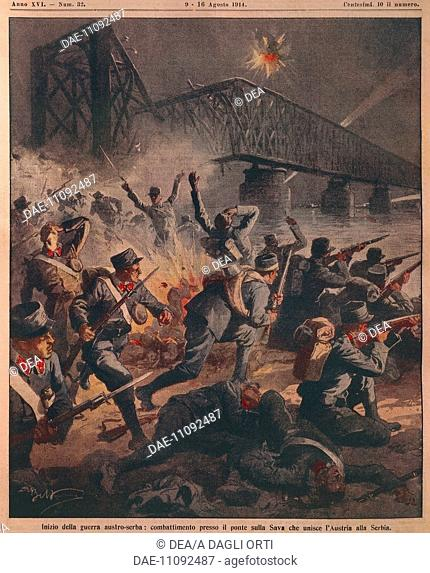 Beginning of the First World War between Austria and Serbia: Fighting near the bridge over the Sava river. Illustrator Achille Beltrame (1871-1945)