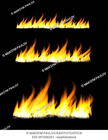 Fiery flames on a dark background. Fire bonfire. Vector realistic illustration