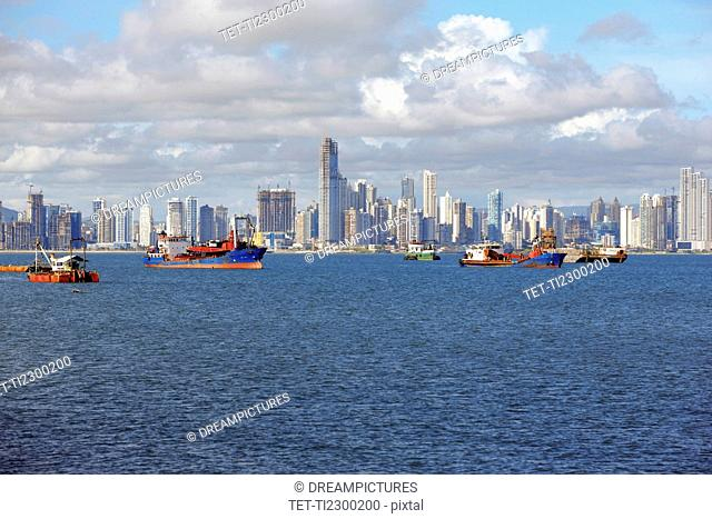 Panama, Panama City, Boats with skyline in background