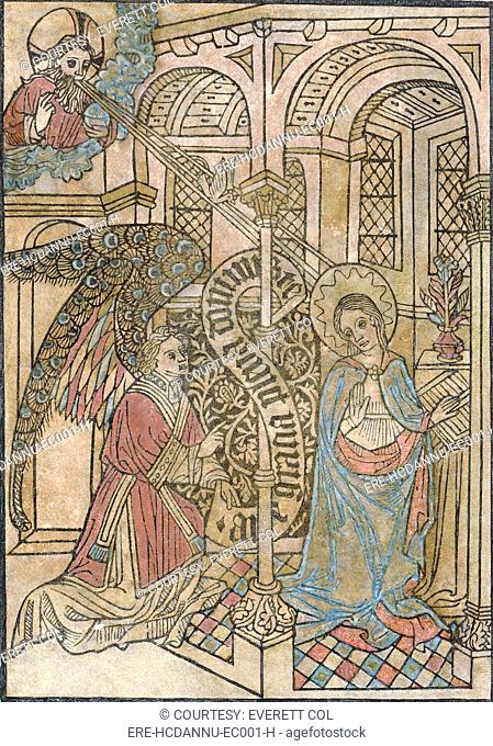 The Annunciation, depicting the visitation of the archangel Gabriel, circa 1450s