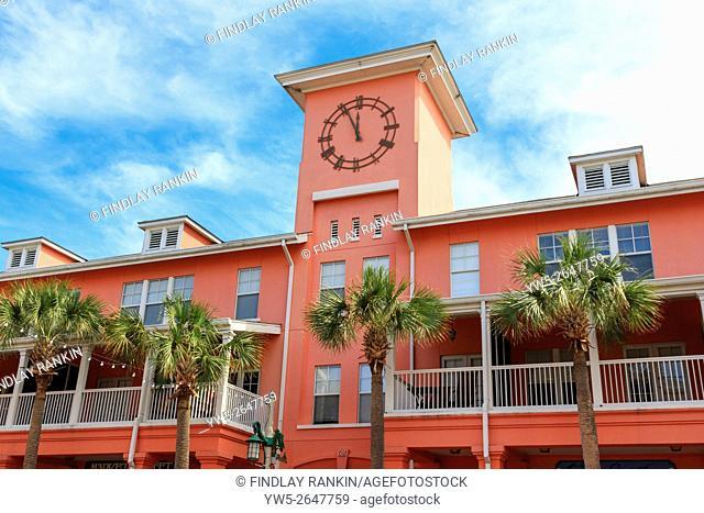 Building detail in MArket Street, Celebration town centre, Osceola District, Florida, America, USA