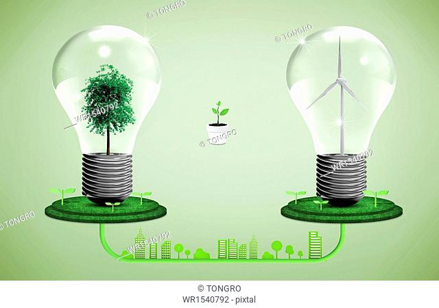 two light bulbs presenting green power