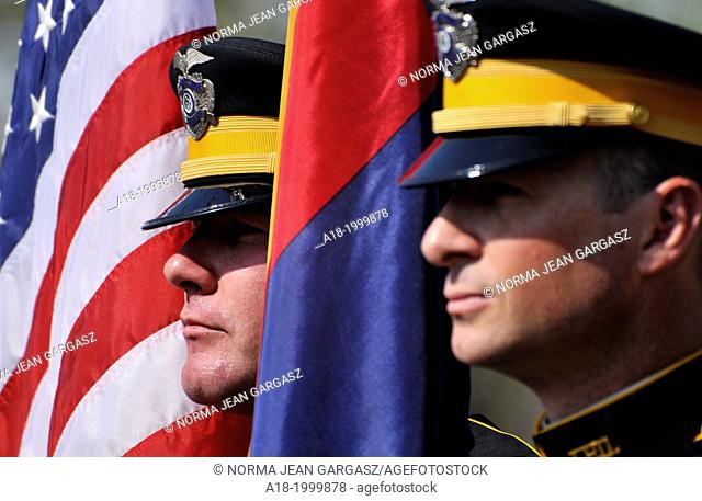 The Honor Guard from the Tucson Police Department heads a Fourth of July parade, Arizona, USA
