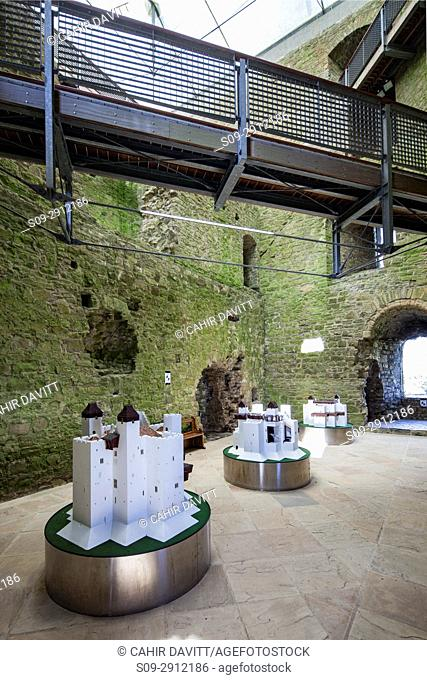 Interior of the Keep of Trim Castle, the largest Norman Castle in Ireland, Trim, with scale models of the keep on display, Trim, Co