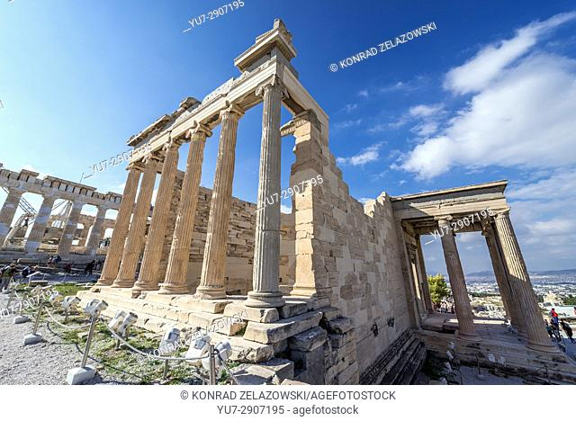 Erechtheion ancient Greek temple dedicated to Athena and Poseidon, on the north side of Acropolis of Athens city, Greece