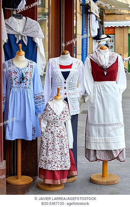 Regional costumes, near La Bretxa Market, Old town, San Sebastian, Donostia, Gipuzkoa, Basque Country, Spain, Europe