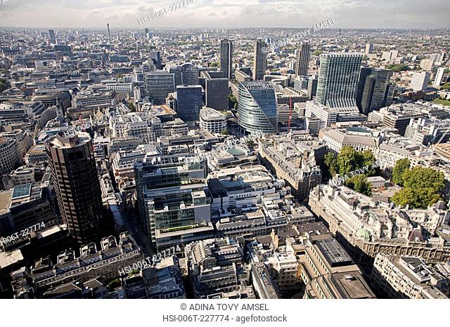 United Kingdom. England. City of London. High, panoramic viewpoint