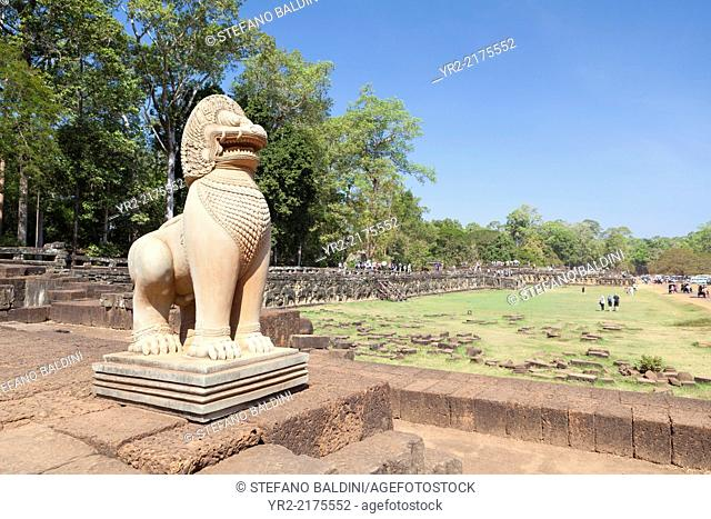 Sculpture of a lion as guardian on the terrace of the elephants, Angkor Thom, Angkor, Siem Reap, Cambodia