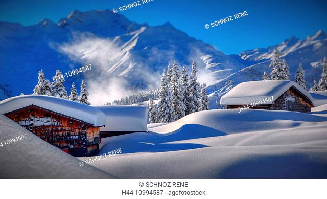 Disentis, Acletta, mountain range, Caischavedra, snow, fresh, snow, morning, sun, snowy, mountains, scenery, landscape, blue, white, powder snow, hut