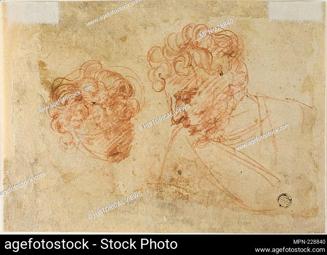 Two Sketches of Heads (recto); Two Sketches of Draped Woman (verso) - c. 1600 - Florentine or Lombard Late 16th Century - Artist: Unknown Florentine