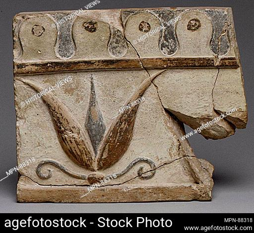 Terracotta architectural tile. Period: Archaic; Date: 6th century B.C; Culture: Lydian; Medium: Terracotta; Dimensions: H.: 8 1/16 in. (20