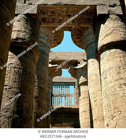 The colonnades of the great temple of Amun at Karnak. Country of Origin: Egypt. Culture: Ancient Egyptian. Date/Period: New Kingdom