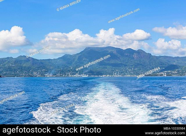 View from the ferry to the port of Victoria, rear Morne Seychellois, 914 m, Morne Seychelles National Park, Mahe Island, Seychelles, Indian Ocean, Africa