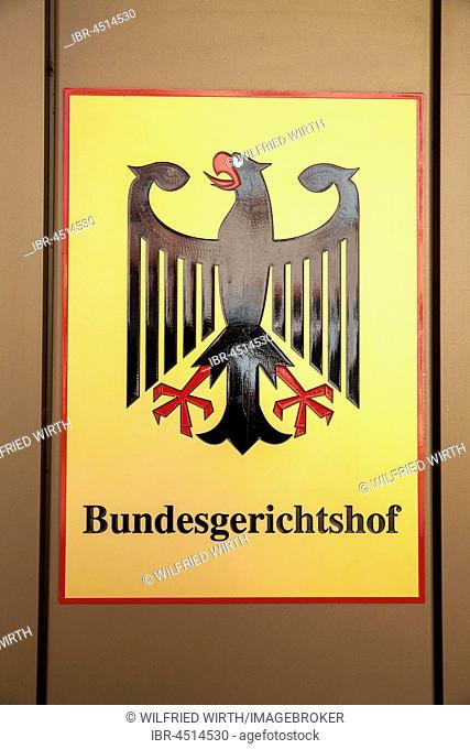 Sign Bundesgerichtshof with federal eagle, Karlsruhe, Baden-Württemberg, Germany