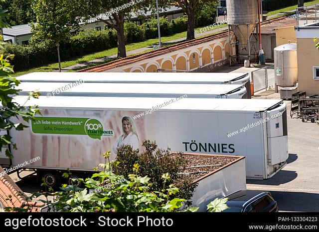 Bamberg, Germany June 23, 2020: Symbolic images - Coronavirus - 06/23/2020 Toennies trailer is in the Schlaughshof Bamberg, with advertising