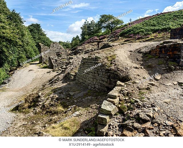 Ruin of Prosperous Lead Smelting Mill near Greenhow Pateley Bridge Nidderdale AONB Yorkshire England